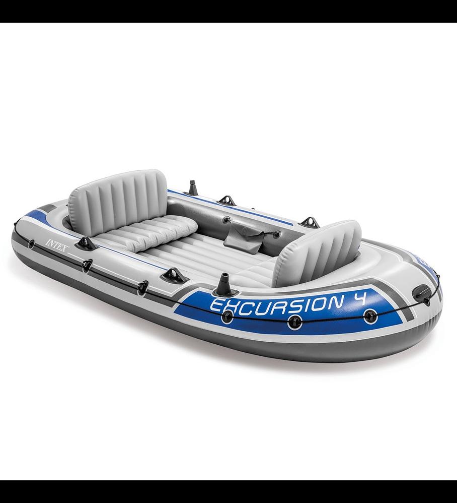 Bote Inflable Intex Excursion 4 Set + Remos + Inflador Capacidad 500 Kg