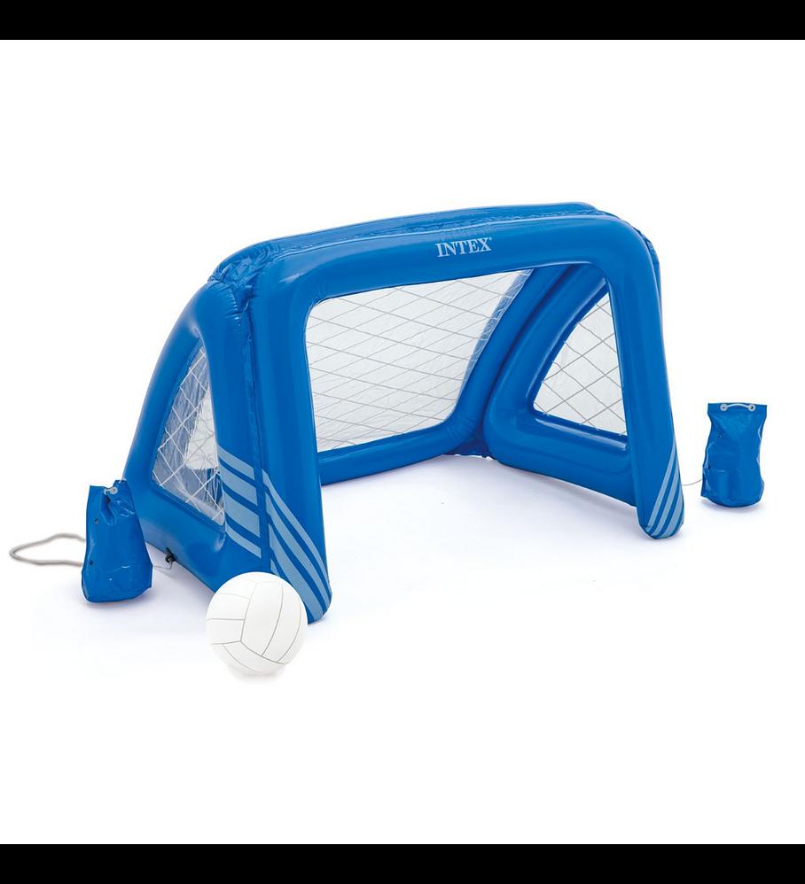 Juego Piscina Inflable Intex Arco Fútbol y Waterpolo Fun Goals + Pelota Inflable Azul