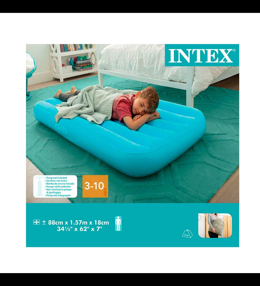 Colchón Inflable Intex 1 Plaza Niño 88x157x18 Cm Cozy Kidz Celeste