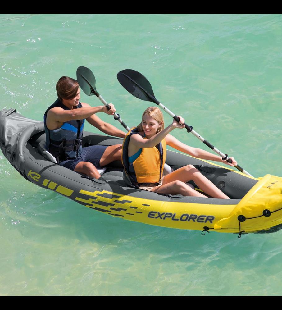 Kayak Inflable Intex Explorer K2 Set Capacidad 2 Personas + Remos + Inflador