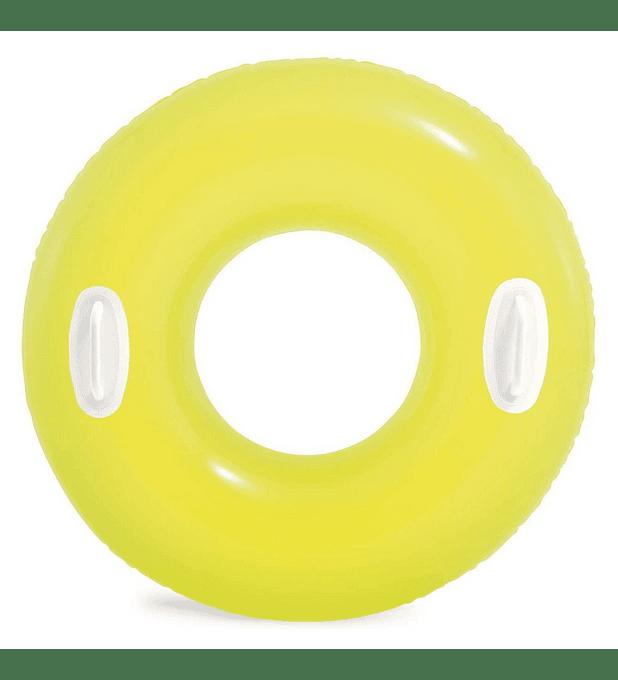 Flotador Inflable Redondo Intex con Sujetadores 76 Cm High-Gloss Tube Amarillo