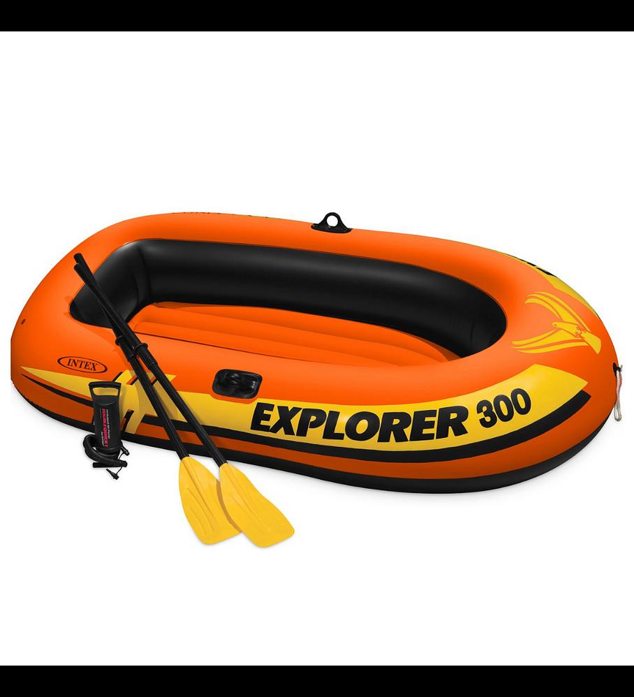 Bote Inflable Intex Explorer 300 Set Capacidad 186 Kg + Remos + Inflador