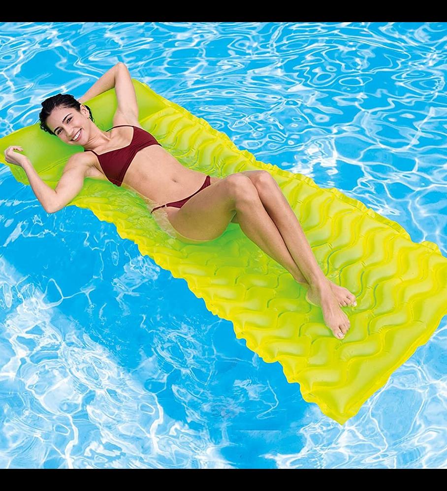 Flotador Inflable Mat Intex 229x86 Cm Tote-n-Float Amarillo