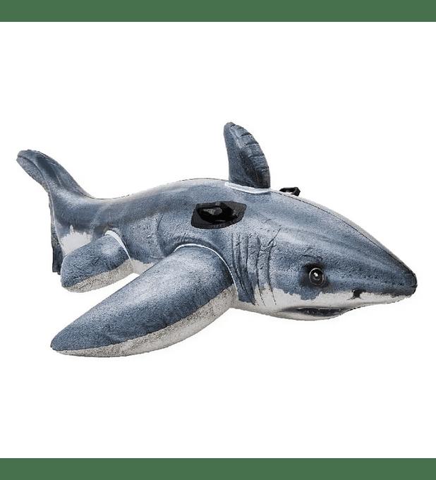 Flotador Inflable Diseño Intex Tiburón Realista 173x107 Cm Grey White Shark