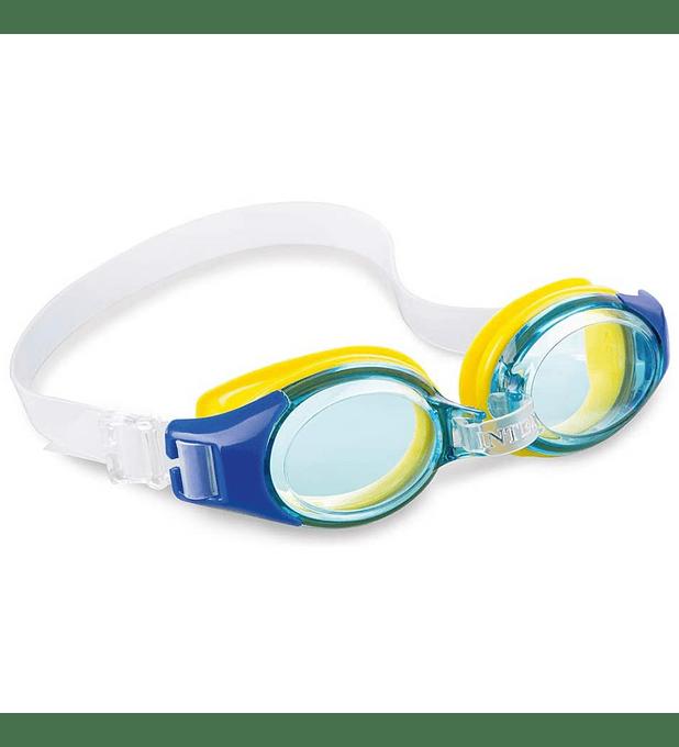 Lentes de Agua Niño Intex Anteojos Natación Junior Goggle Azul Amarillo