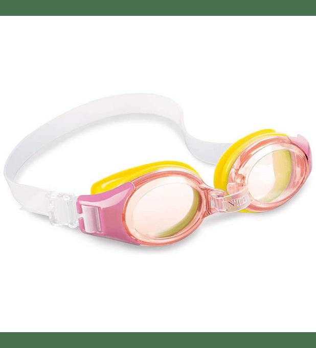 Lentes de Agua Niño Intex Anteojos Natación Junior Goggle Rosado Amarillo