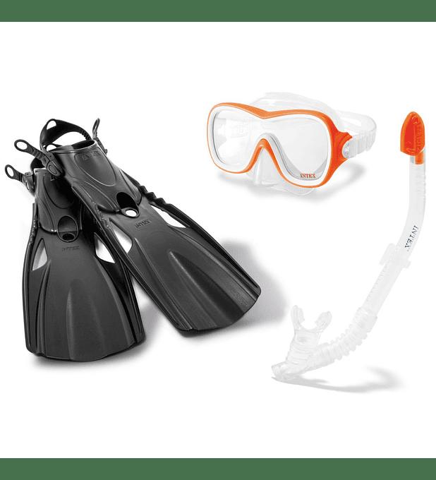 Set de Buceo Intex Mascara Buceo + Tubo Snorkel + Aletas Wave Rider Sport
