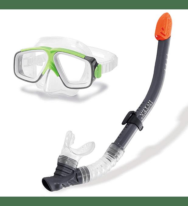 Set de Buceo Intex Mascara Buceo + Tubo Snorkel Surf Rider Swim