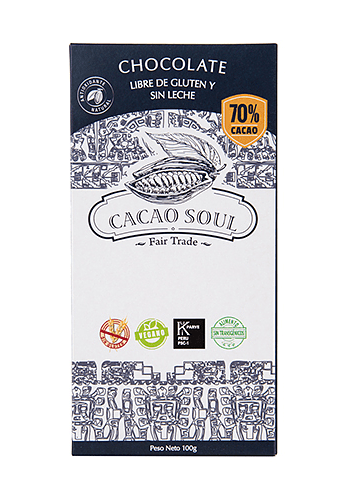 Chocolate barra 70% CACAO SIN GLUTEN SIN LACTOSA 100GR