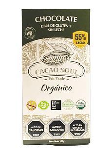 Chocolate barra orgánico 55% CACAO SIN GLUTEN SIN LACTOSA 100GR