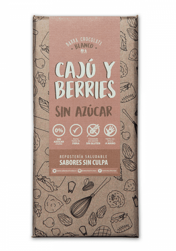 CHOCOLATE BLANCO BARRA CAJÚ BERRIES SIN AZÚCAR SIN GLUTEN 80GR