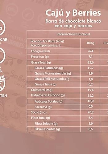 CHOCOLATE BLANCO BARRA CAJÚ BERRIES SIN AZÚCAR SIN GLUTEN 80GR