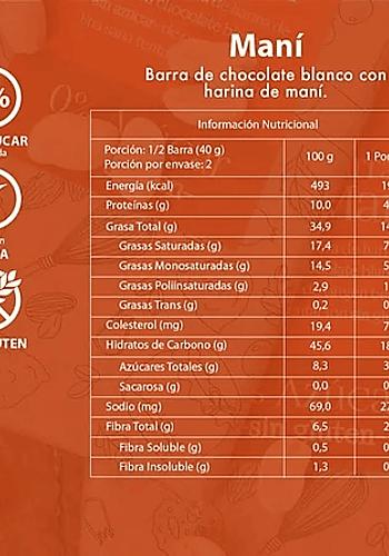 CHOCOLATE BLANCO BARRA MANÍ  SIN AZÚCAR SIN GLUTEN 80GR