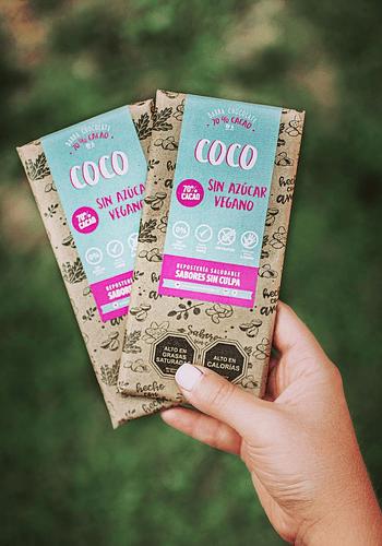 CHOCOLATE BARRA COCO 70% CACAO SIN AZÚCAR SIN GLUTEN (VEGANO) 80GR