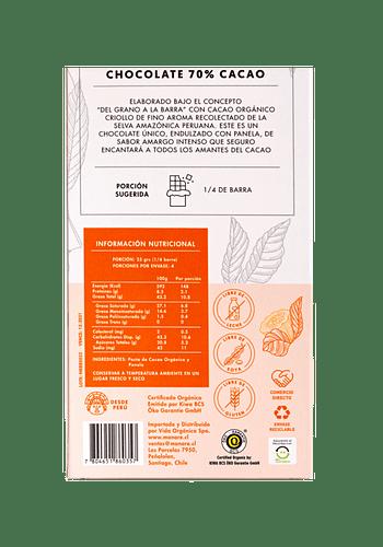 Barra de Chocolate orgánico 70% cacao 100gr