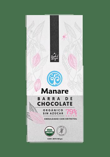 Barra de Chocolate orgánico sin azúcar 79% cacao 100gr