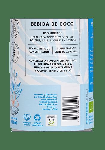 Leche de coco orgánica liquida 400ml