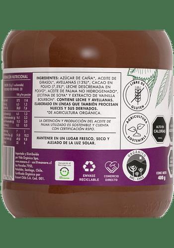Nutella orgánica (mantequilla de avellanas y cacao) 400 gr