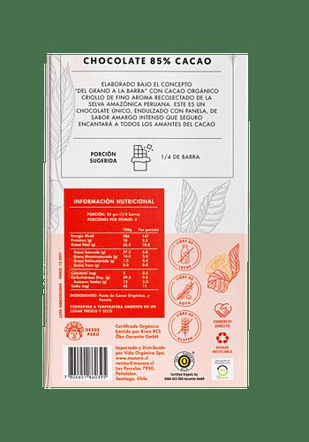 Barra de Chocolate orgánico 85% cacao 100gr