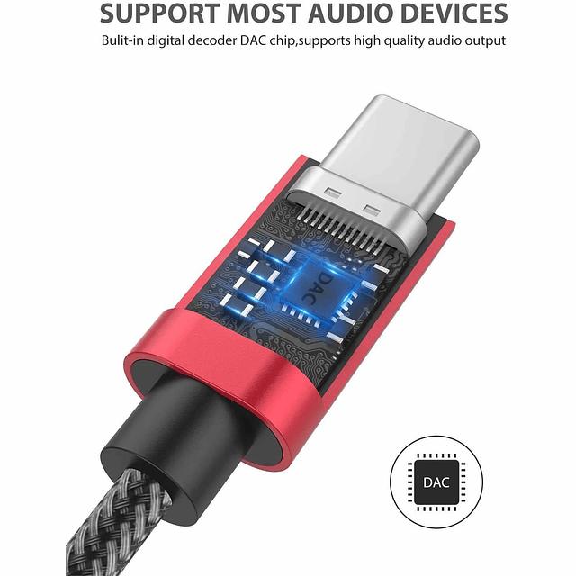 Adaptador Usb C A jack 3.5mm Chip Dac compatible Samsung S20 S21 Note 10 20 - Rojo