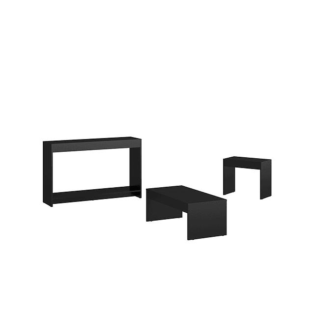 Combo Mesa Munich (Centro+Consola+Mesa Lateral) Negro