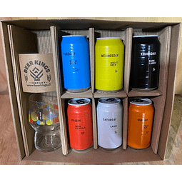 CAJA REGALO AND UNION  1X DARK LAGER 1X HELLES LAGER 1X WHEAT BEER 0° 1X WHEAT BEER 1X IPA 1X PALE ALE + VASO AND UNION 400cc