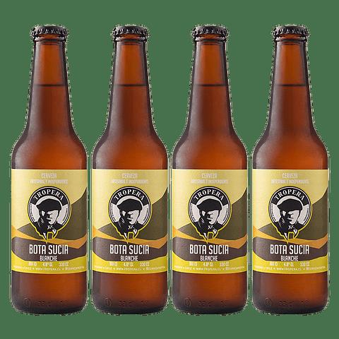Action Sale! Pack Cerveza Tropera Blanche Bota Sucia 4 unid.