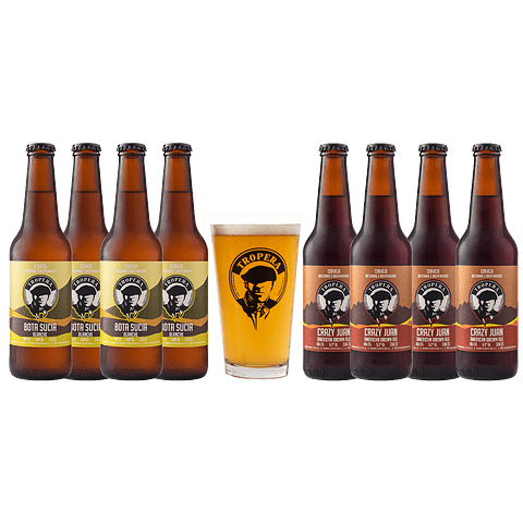 Action Sale! Pack Cerveza Tropera Blanche y Brown Ale + Vaso Regalo