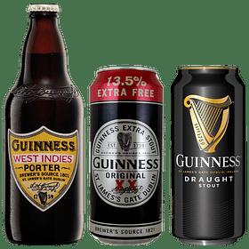 """3x Cerveza Guinness Pack Variedades y West Indies Porter"""