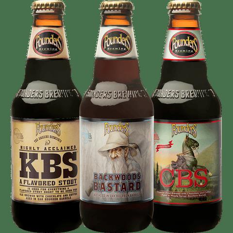 3x Cervezas Founders KBS + CBS + Backwoods Bastard (Añejadas Barrica)