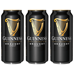 """Action"" 3x! Cerveza Irlandesa Guinness Draught Stout 440cc"