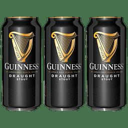 """Action"" 3x! Cerveza Irlandesa Guinness Draught Stout 440cc"