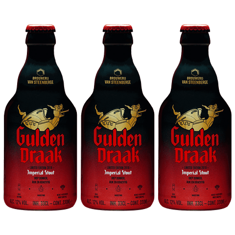3x Cerveza Gulden Draak Imperial Stout botella 330cc