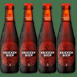 4x Cerveza Belga Fruta Kriekenbier Lager botella 250cc