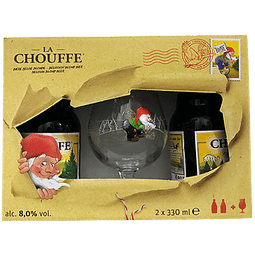 Pack Regalo La Chouffe 2 botellas 330cc + Copa