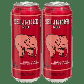 2x Cerveza Delirium Red Lata 500cc