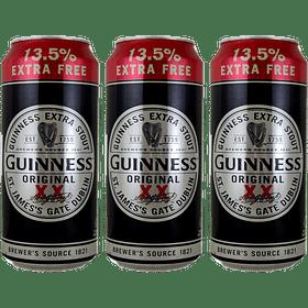 3x Cerveza Irlandesa Guinness Original Extra Stout 500cc