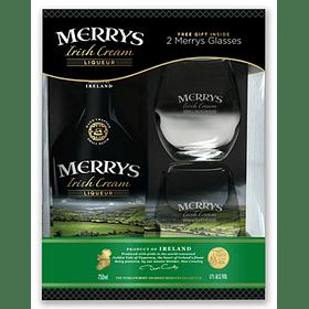 Pack Regalo Merrys Irish Cream Original 700cc + 2 copas