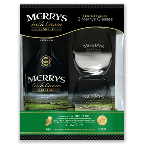 """Pack Regalo Merrys Irish Cream Original 700cc + 2 copas"""