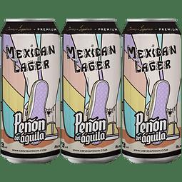 3x Peñón del Águila Mexican Lager, lata 473cc
