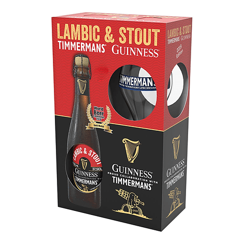 Pack Regalo Guinness Timmermans Lambic & Stout + Copa