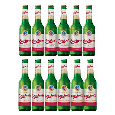 12x Czechvar Lager botella 330cc