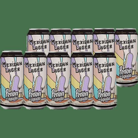 10x Peñón del Águila Mexican lager lata 473cc + Vaso Pinta