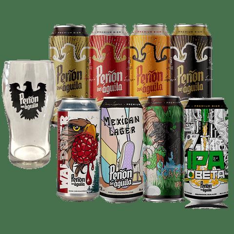 Pack 8x cervezas Argentinas Peñón del Águila variedades + Vaso