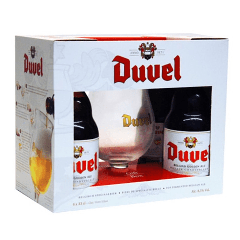Pack Regalo Cerveza Duvel 4 botellas 330cc + Copa