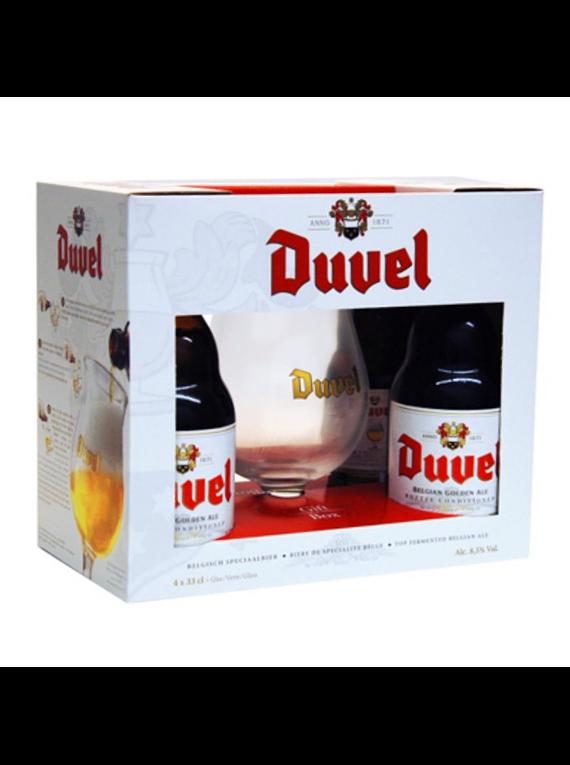 Pack Regalo Cerveza Duvel 4 botellas 330cc + copa