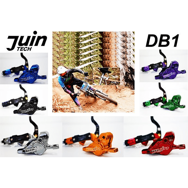 JUIN TECH DB1 - KIT DE FRENO P/MTB - FULL HIDRAILICO - 2 PISTONES - DISCOS 180MM (de acero Japones) - NEGRO