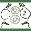 JUIN TECH DB1 - KIT DE FRENO P/MTB - FULL HIDRAILICO - 2 PISTONES - DISCOS 180MM (de acero Japonés) - VERDE
