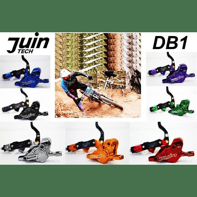 JUIN TECH DB1 - KIT DE FRENO P/MTB - FULL HIDRAILICO - 2 PISTONES - DISCOS 180MM (de acero Japonés) - DORADO