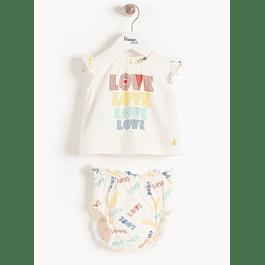 Conjunto camisa e tapa fraldas - Love